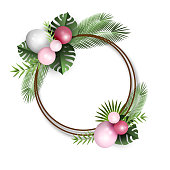 Festive frame with pink and white balloons and fresh tropical leaves on white background, vector illustration, eps 10 with transparency.