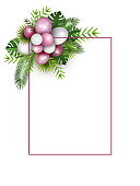 Festive frame with pink and white balloons and fresh tropical leaves, with copy space, vector illustration, eps 10 with transparency.