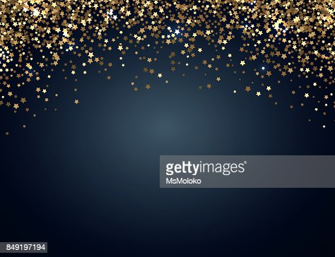 Festive horizontal Christmas and New Year background with gold glitter of stars. Vector illustration : stock vector