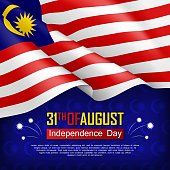 Festive illustration of Independence day of Malaysia. National traditional holiday celebrated on August 31. Background with realistic waving malaysian flag. Malaysian patriotic vector greeting card