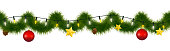 Festive winter garland for websites. Christmas and New Year festoon with coniferous torse, holiday lights, star, glass ornaments and ficone