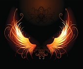 artistically painted fiery wings on a black background.