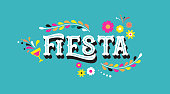Fiesta banner and poster concept design with flags, flowers, decorations