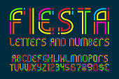 Fiesta letters and numbers with currency signs. Colorful letters font.