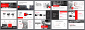 Red, white and black infographic elements for presentation slide templates. Business and startup concept can be used for corporate report, advertising, leaflet layout and poster.