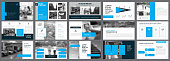 Blue, white and black infographic elements for presentation slide templates. Business and economics concept can be used for financial report, advertising, workflow layout and brochure.