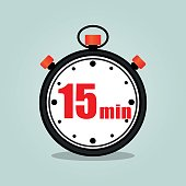 Illustration of fifteen minutes stopwatch isolated icon