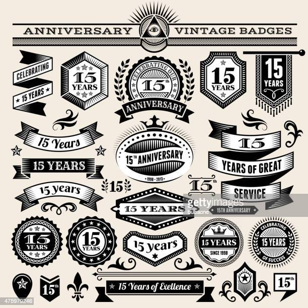 fifteen year anniversary hand-drawn royalty free vector background on paper