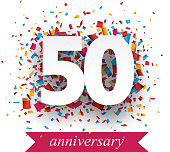 Fifty paper sign over confetti. Vector holiday anniversary illustration.