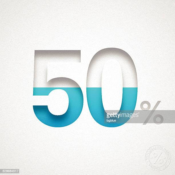 Fifty Percent Design (50%) - Blue number on Watercolor Paper