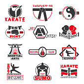 Set of vintage boxing emblems, labels, badges, logos and designed fight club logo elements. Fight club logo style sport boxing punch label martial. Vintage fist champion fight club logo.