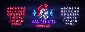 Fight Club neon sign. Warrior logo in neon style. Design template, sports logo, Spartan warrior. Night Fight, MMA. Light banner, bright night neon advertisement. Vector. Editing text neon sign.