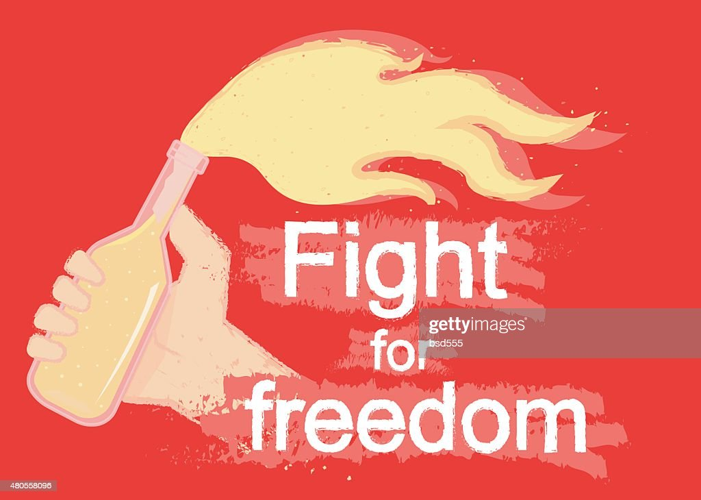 Fight for freedom logo on black : Vector Art