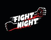 Fight night mma, wrestling, fist boxing championship for the belt event poster icon template with lettering