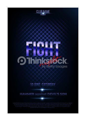fight night poster template vector golden words on dark blue