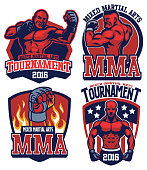 vector of MMA fighter badge set
