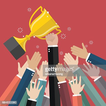 Fighting for a winning trophy : stock vector