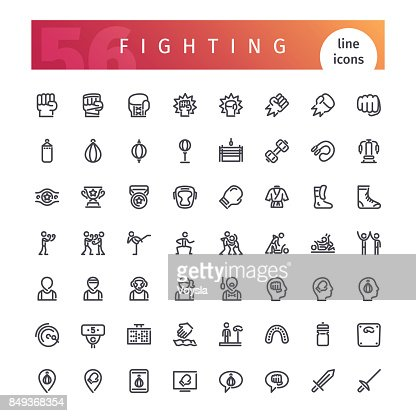Fighting Line Icons Set : stock vector