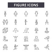 Figure line icons, signs set, vector. Figure outline concept illustration: people,silhouette,person,human,figure,body,black,symbol