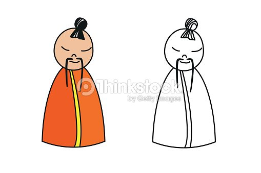 Figura De China Monje Para Colorear Libro Arte vectorial | Thinkstock