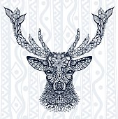 Figure of deer pattern, ornament, leaves and flowers against the backdrop backgrounds. Ethnic ornament