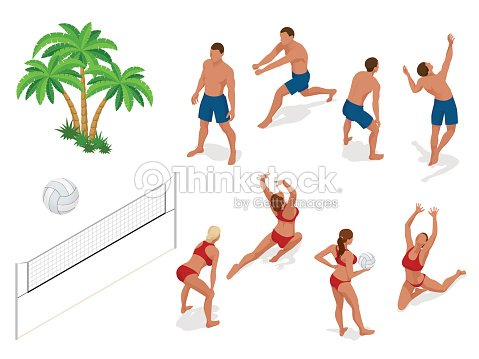 Figures of people when playing volleyball. Beach volley ball concept. Vector isometric illustration
