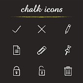 File management icons set. Vector. Yes and no, edit, save, file, delete buttons