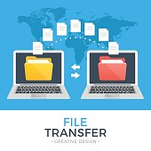 File transfer. Two laptops with folders on screen and transferred documents. Copy files, data exchange, backup, PC migration, file sharing concepts. Flat design graphic elements. Vector illustration