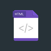HTML file type icon. Vector illustration isolated on a dark blue background.