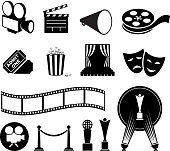 film and movies black and white icon set