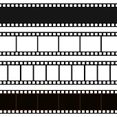 Film black and white strip. Long film line with a blank sequence of images for projection of pictures, movie. Vector flat style cartoon illustration