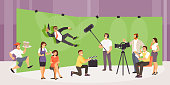 Shooting action movie. People film crew makes a film in the studio. Vector illustration