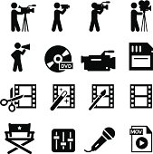 Movie and film production icon set. Professional vector icons for your print project or Web site. See more in this series.