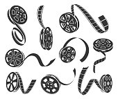 Film reel icons vector set isolated from background. Black and white collection of various film reel icons