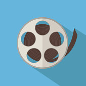 Film reel isolated over blue background. Vector illustration
