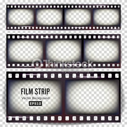 Film Strip Vector Set Realistic Frame Strip Blank Scratched Isolated ...