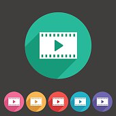 Film video cinema photo icon flat web sign symbol logo label set