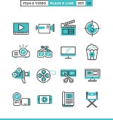 Film, video, shooting, editing and more. Plain and line icons set, flat design, vector illustration