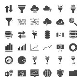 Filter Solid Web Icons. Vector Set of Business Glyphs.