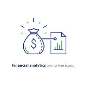 Financial analytics, budget planning, finance management, investment advisor concept, paper graph report, chart list, vector mono line icons
