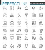 Finance and Banking thin line web icons set. Outline stroke icon design