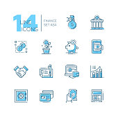 Finance - coloured vector modern single line icons set. Money bag, dollar, euro, bank, credit card, safe, calculator, laptop, chart, saving pig, handshake.