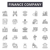 Finance company line icons, signs set, vector. Finance company outline concept illustration: finance,business,company,office,chart,deconcept