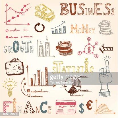 Finance doodle set : Vector Art