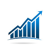 Finance Graph Bars up rising with arrow . Vector Illustration Design
