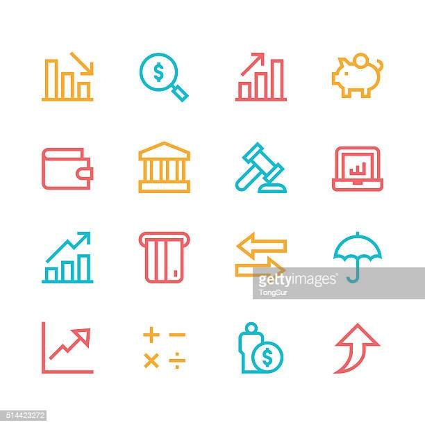 Finance icons - line - color series