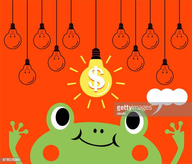 Finance Ideas Concept, bizarre frog prince catching the idea light bulb with dollar sign