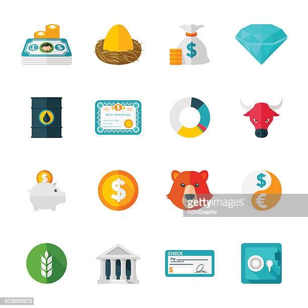 Finance & Investmen Ensemble d'icônes de Design PLAT /
