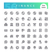 Set of 56 finance line icons suitable for web, infographics and apps. Isolated on white background. Clipping paths included.