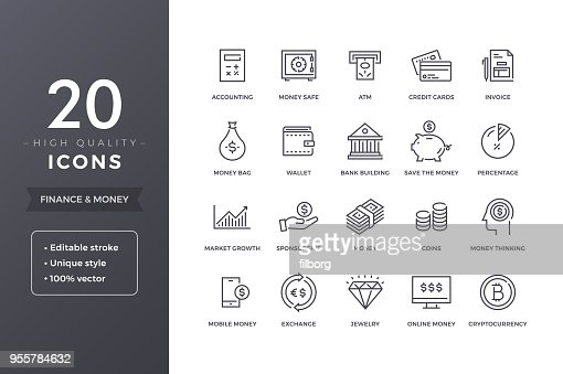 Finance Line Icons : Vector Art